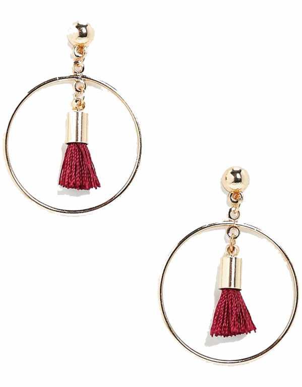 Tassled Hoop Earrings, Boohoo, Rs.362