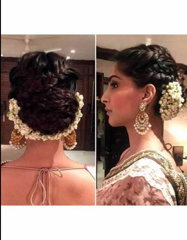 This braided bun is perfect with a saree and heirloom jewels