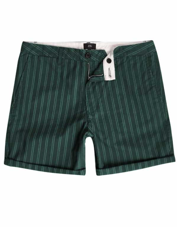 Green Striped Slim Fit Chino Shorts, River Island, Rs.2,327