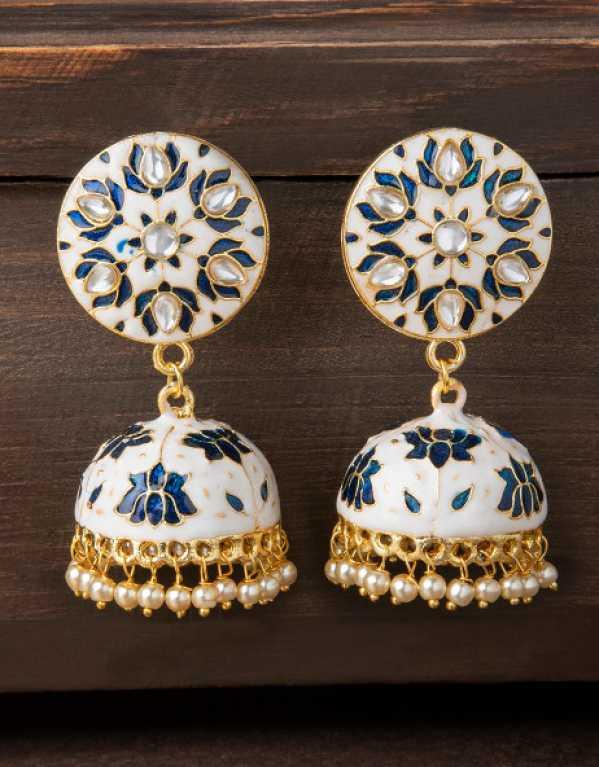 1.Rubans White & Blue Hand Painted Jhumkas