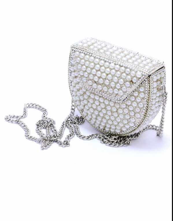 White Pearl Metal Bag, Amazon, Rs.1000
