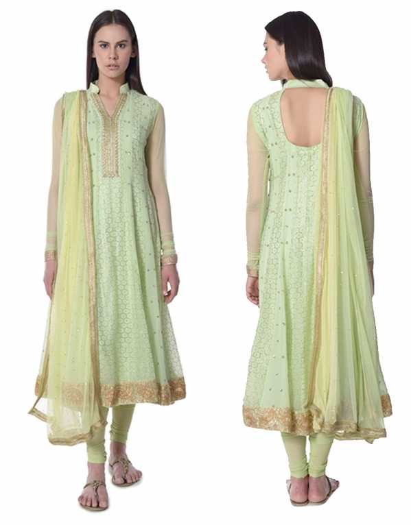9. Lime Green Mukaish Anarkali