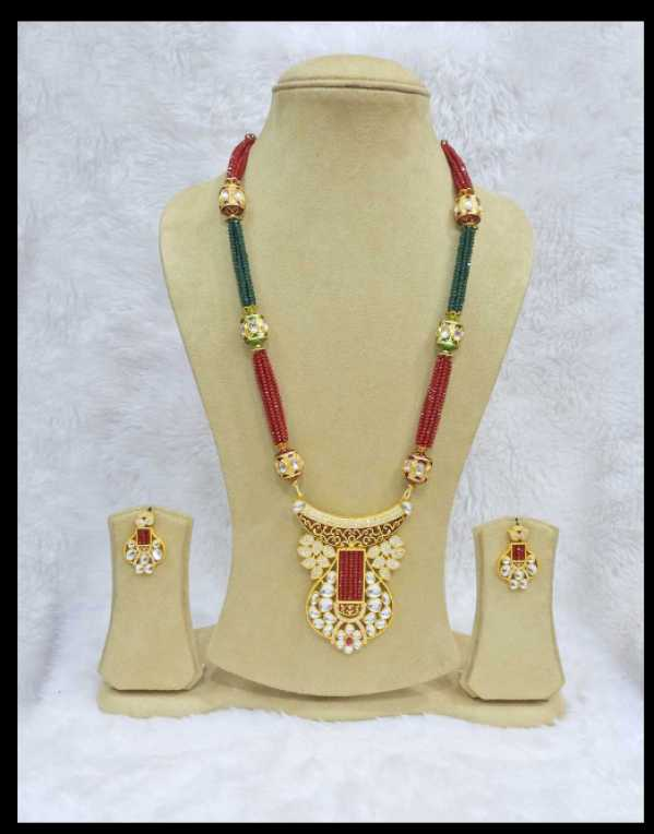 Fusion Pendant Set Ruby Green Beaded Kundan Zirconia Jewelle