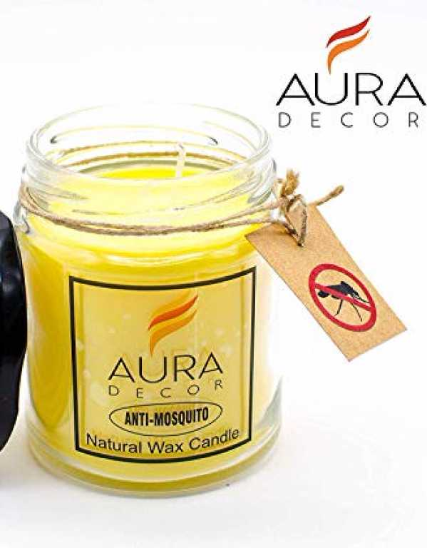 5) AuraDecor Anti Mosquito Jar Candle