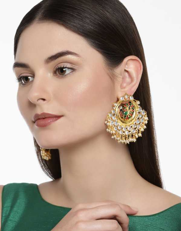 5.	Zaveri Pearls Gold-Toned Classic Drop Earrings