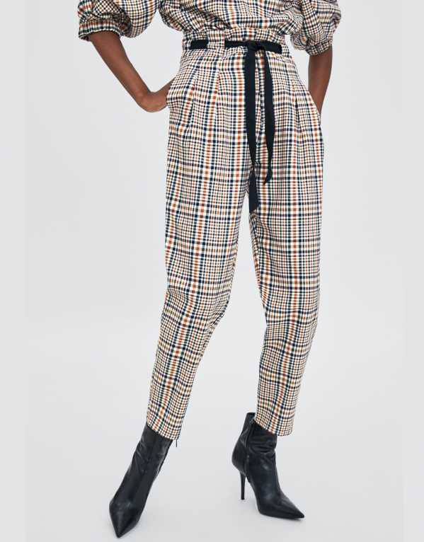 Check Paper Bag Trousers, Zara; Rs. 2790