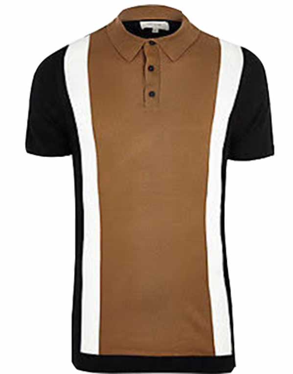 Brown Colour Block Polo Shirt, River Island; Rs. 950