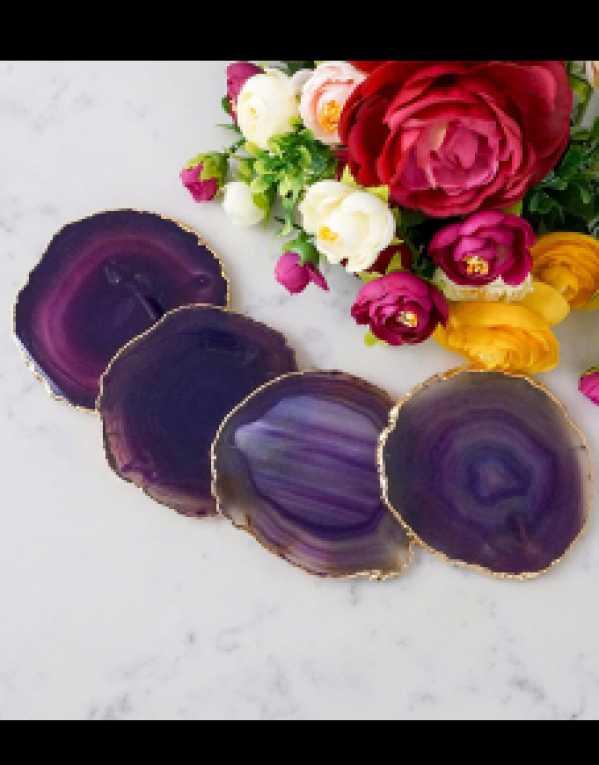 Agate Coasters Purple