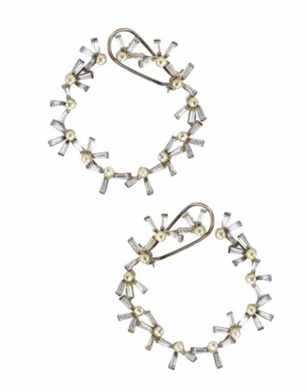 Gold Plated Polkis and Baguettes Hoops, Nepra by Neha Goyal; Rs. 3,800