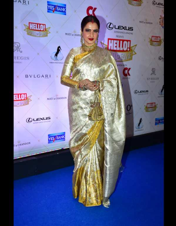 Rekha being her usual elegant self in a saree from her personal collection