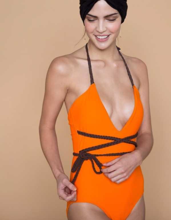 Tangerine Plunge Swimsuit by Nikhil Thampi, The Label Life; INR 5200