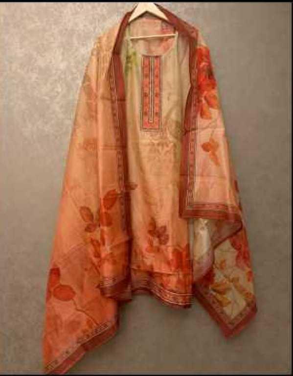 Chanderi silk semi stitched suit set