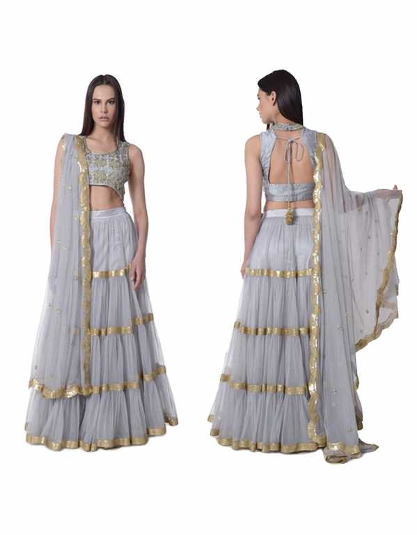 1. Grey Layered Lehenga