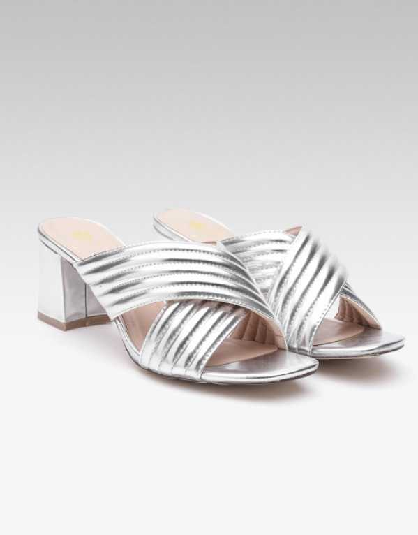 5. Carlton London Silver-Toned Textured Heels