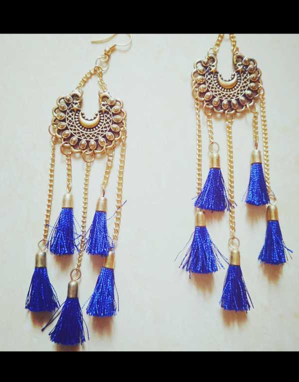 Blue Tassels Earrings.