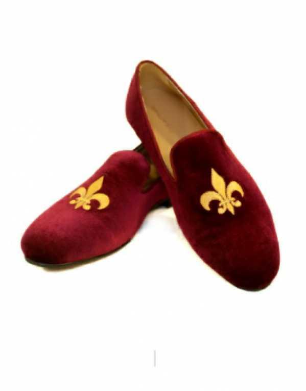 Fleaur-De-Lis Burgundy Slip-Ons, Shutiq; Rs. 5,000