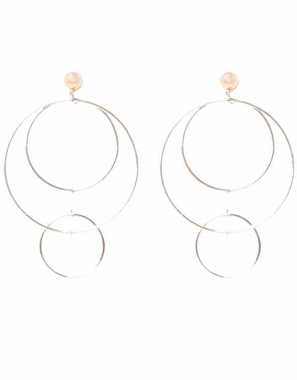 Gold Tone Multi Hoop Pearl Stud Earrings, River Island, Rs. 906