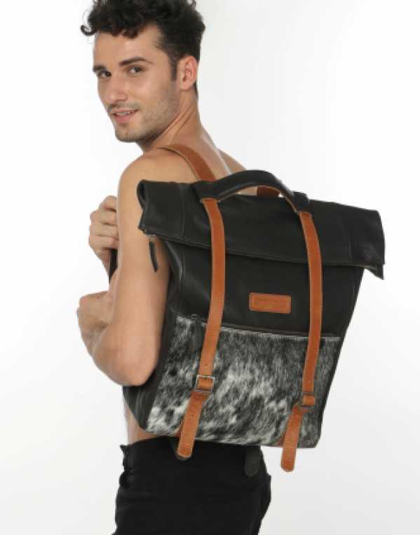 Black & Tan Genuine Leather Backpack