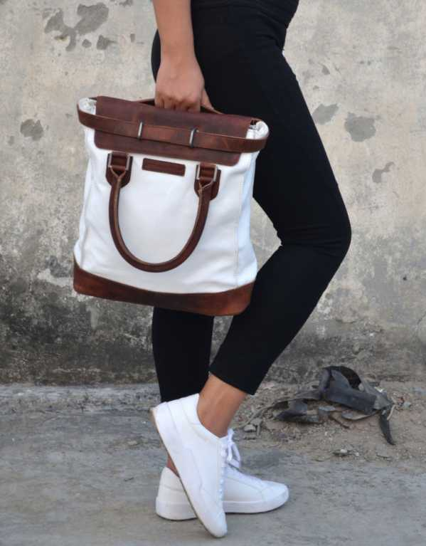 Brown and White Women Laptop Hand-held Bag