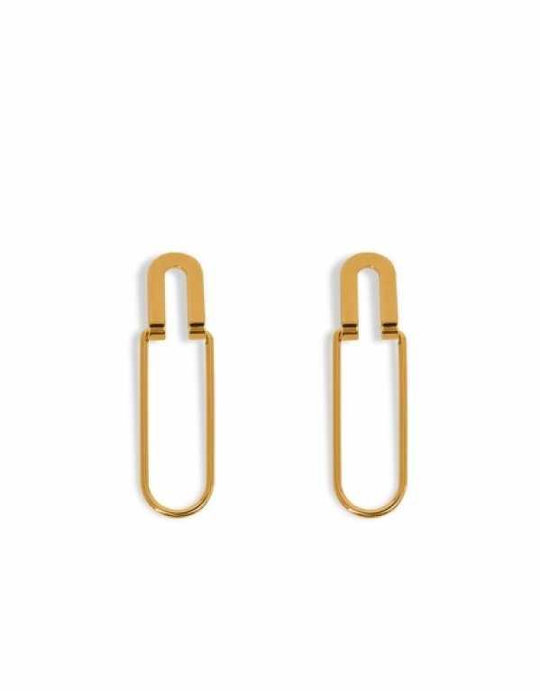 Elham Gold U Pin Earrings by Lune; Rs. 1,250