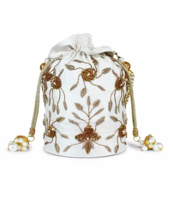 Ivory Hand Embroidered Pearl Potli Bag, The Purple Sack, Rs.4000