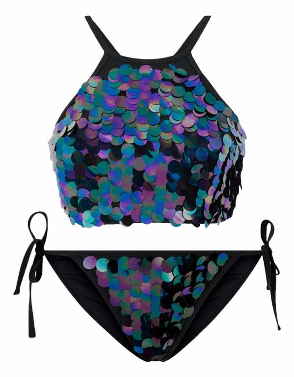 Black Sequin Embellished High Neck Bikini Top, New Look, Rs. 1865